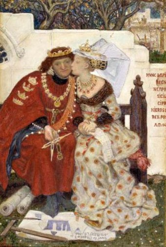 King Rene's Honeymoon by Ford Madox Brown (water color on paper, 1864, Tate Gallery). René, the Count of Provence, was portrayed in Walter Scott's 1829 novel Anne of Geierstein as devoted to the arts and so Brown paints him as so absorbed in his architectural plans that he ignores his new wife's affections.