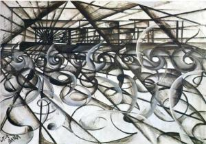 Speeding Car (Velocità d'automobile) by Giacomo Balla. (Oil and ink on paper mounted on board. 1913. Private Coolection.) The movement was born when a speeding car crashed. The artists propelled it heedlessly toward a greater crash. (All pieces illustrated are exhibited by the Guggenheim unless otherwise noted.)