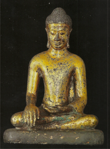 Buddha Calling the Earth to Witness (Central Myanmar. ca. 8th Century. Bronze with gold gilding. Private collection, Europe.) Click to enlarge.