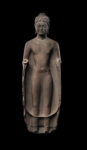 Standing Buddha. (Southern Cambodia. mid-7th Century. Sandstone. Metropolitan Museum of Art.)