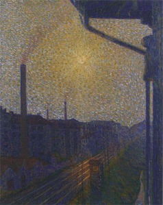 Suburb-Work by Luigi Russolo. (Oil on caves. 1910. Collection Leoni, Erba, Italy.)