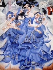 Blue Dancer by Gino Severini. (Oil on canvas with sequins. 1912. Gianni Martioli Collection, on long-term loan to the Peggy Guggenheim Collection, Venice.)