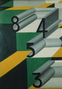 Numbers in Love by Giacomo Balla. (Oil on canvas. 1920-23. MART, Museo d'art modern e contemporanea di Trento e Rovereto, Italy.)