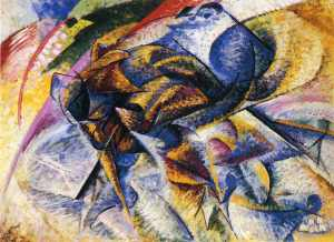 Dynamism of a Cyclist by Umberto Boccioni. (Oil on canvas. 913. Gianni Mattioli Collection, on long-term loan to the eggy Guggenheim Collection, Venice.)