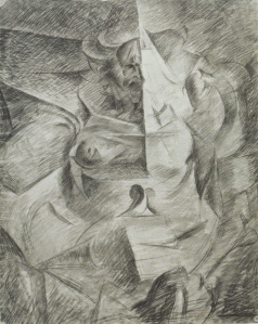 "Head + House + Light by Umberto Boccioni. (Charcoal and watercolor on paper. 1913. Civico Gabinetto die Disegni-Castello Sforzesco, Milan.) Boccioni worked out his approach to Antigraceful (below) in a conventional manner in this sketch, but he had difficulty making the building ""contiguous."""