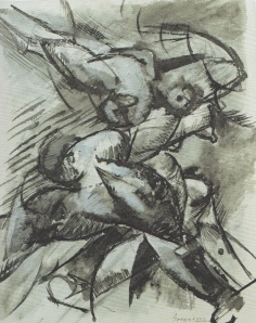 I Want to Fix Human Forms in Movement, Dynamic Scomposizione by Umberto Boccioni. (Charcoal and watercolor on paper. 1913. Civico Gabinetto die Disegni-Catello Sforzesco, Milan.)
