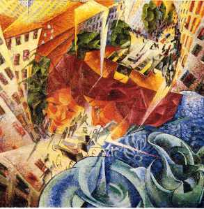 Simultaneous Visions by Umberto Boccioni. (Oil on canvas. 1911. Von der Heydt-Museum, Wuppertal, Germany.)