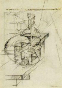 Study of a Bottle and Building Blocks (Table + Bottle + Bulin Block) by Umberto Boccioni. Pencil on paper. 1911. Civico Gabinetto die Disegni-Caello sforzesco, Milan.)