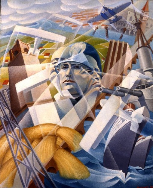 Central panel of triptych Fascist Synthesis by Aleessandro Bruschetti. (Oil on plywood. 1935. Wolfsonian–Florida International University, Miami Beach, Florida.)