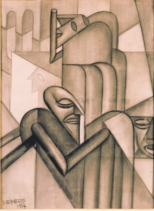 Mystical Silence by Fortunato Depero. (Charcoal on paper. 1917. MART, Museo di rate modern e contemporanea di Trento e Rovereto, Italy.)