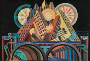 Skyscrapers and Tunnels by Fortunato Deperto. (Tempera on paper. 1930. MART, Museo di rate moderna e contemporanea di Trento e Rovereto, Italy.)