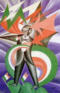 Stormy Patriot Marinetti: Psychological Portrait by Fortunato Depero (Oil on canvas. 1924. Private Collection.) In the exhibition this piece is show in the artist's frame.)