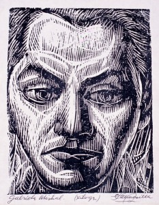 Mistral (woodcut) by Carlos Hermosilla. (Woodcut on paper. Date? ESCALA, Essex Collection of Art from Latin America, Colchester, U.K.)