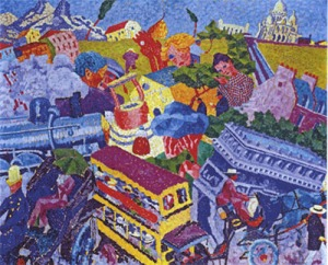 Memories of a Trip by Gino Severini. (Oil on canvas. 1911. Private collection.)