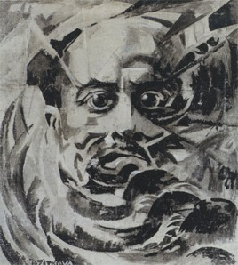 Marinetti by Růžena Zátková. (Tempera on canvas. ca. 1921. Private collection.) In the exhibition this work is shown in the artist's original metal frame.