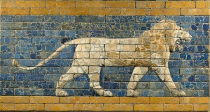 Relief of Lion from the Temple of Marduk, Babylon (ca. 604-562 B.C.E. Glazed Brick. Staatliche Museen zu Berlin, Vorderasistisches Museum.)