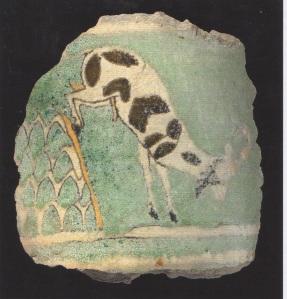 Vessel fragment with goat from Ashur. (Glazed ceramic. 8th-7th Century. Staatliche Mussen zu Berlin. Vorderasiatisches Museum.)
