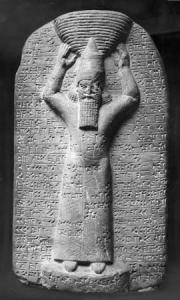 Stele of Ashurbanipal, in pose used based ancient kings as temple builders. From Esagil Temple, Babylon. (Marble. 668-665 B.C.E. British Museum.) Ashurbanipal restored the major temple of Babylon, which had been destroyed by his grandfather Sennacherib, when he sacked Babylon for its rebellion against Assyrian rule.