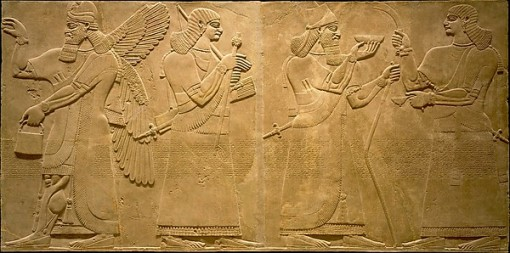 16. *Ashurnasirpal (with conical cap) and attendants (together with king as guardian figure on left). From Northwest Palace, Nimrud (in position 13 in Room S of #15, above). (Gypsum alabaster. ca. 883-859. Metropolitan Museum of Art.)