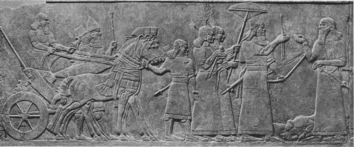 King receives prisoners. From the Throneroom of the Northwest Palace in Nimrud. (Gypsum alabaster. 883=859 B.C.E. British Museum.)