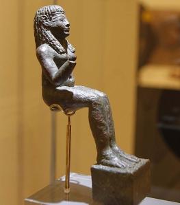 Statuette of Astarte from El Carambolo (?), near Seville. (Bronze. 8th-7th Centures B.C.E. Museo Arqueológio de Sevilla.)
