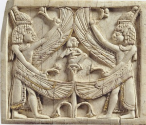 Plaque representing the birth of Horus. (Ivory and gold. 8th century B.C.E. The Louvre.)