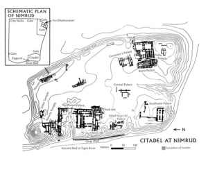 13. *Remains of the Citadel of Nimrud and contour map, based on excavation of Max Mallowan in 1957. Note that the northern half of the Northwest Palace was destroyed by a rainwater wadi. From Crawford, et al. (1980), p. 11.