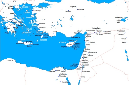 Map 2: Eastern Mediterranean during the Early Iron Age.
