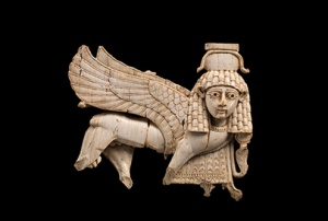 Ivory openwork plaque  of sphinx in low relief from Fort Shalmaneser, Nimrud. (Ivory. ca. late eighth century B.C.E. Metropolitan Museum of Art.)
