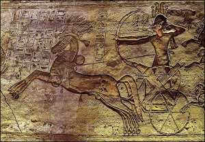 Relief inside Temple at Abu Simbel (Nubia), showing Ramesees II at the Battle of Kadesh. (ca. 1244 B.C.E.)
