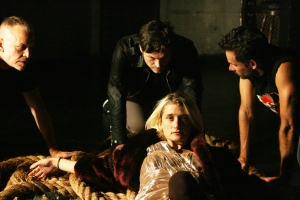 Mark Dendy, Stephen Donovan, Matthew Hardy (l to r) and Heather Christian in Mark Dendy: Labyrinth.