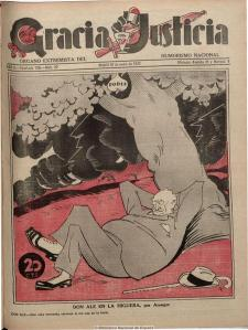 Characiture of Alejandro Lerroux on cover of Gracia y Justicia (1931) by  Areuger (Wikipedia).