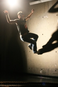 "Matthew Hardy in rehearsal for the number ""Me and My Shadow."" (Photo: Marisa @RockPaper.)"