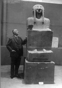 Max von Oppenheim with Seated Woman from Tell Halaf in 1930, before the bombing. The Met exhibit has the reconstructed statue.