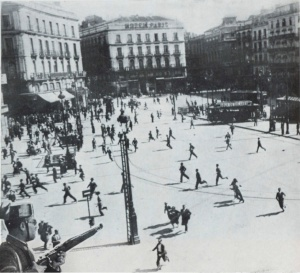 Protestors violently dispersed in Madrid after the State of Siege was proclaimed. From Spain October 1934.