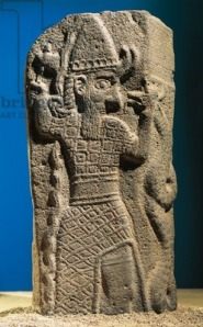 Stele of Tukulti-Ninurta IIs defeating Araean-Hittites at Lakē from Tell Ashara Terqa on the Euphrates. Basalt orthostat. mid-9th Century B.C.E. Aleppo National Museum.)
