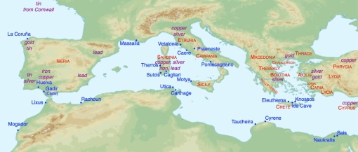 Map 3: The Western Mediterranean in the early Iron Age.