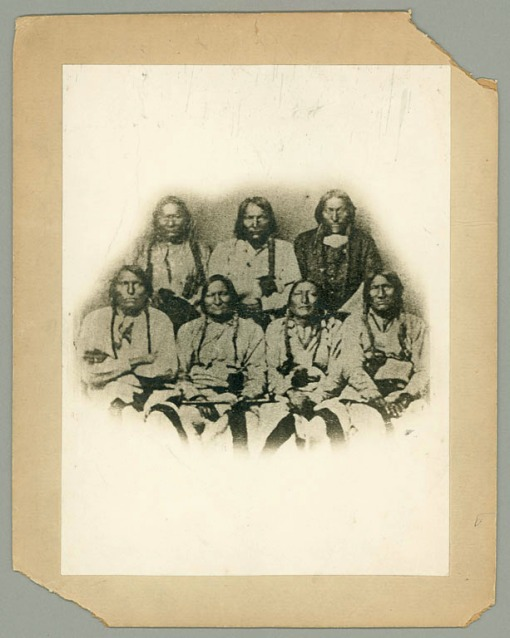 Photograph of the delegation of chiefs meeting in Denver in September 1864. Black Kettle is shown second from the left in the bottom row.(National Anthropological Archives, Smithsonian Museum Support Center, Suitland, Maryland.)
