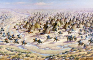 Painting by Robert Lindneaux (1871-1970) of surprise attack by troops under Major John Chivington on November 29, 1864 at the Big Bend on Sand Creek. (Reproduction NPS. Colorado History.)