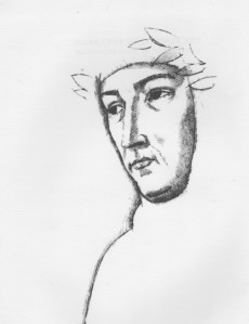Petrarch. Drawing by Aldo Salvadori in The Sonnets of Petrarch edited by Thomas G. Bergin (NY: The Heritage Preess: c1966).