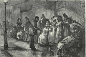 People Waiting for Ration Tickets in Paris by Edwin Buckman. From The Graphic, November 19, 1870. Van Gogh referred to the print as ≤i>In front of the shelter and seems to have gotten a reprint in an 1882 magazine (see to Theo,<a href=