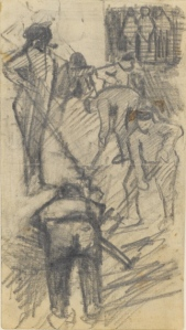 12. Men Digging. 1882. Pencil on paper. Enclosed in letter to Theo van Gogh, ca. April 23, 1882.
