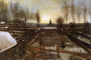 9. The Parsonage Garden in the Snow. 1884-85. Oil on canvas. Hammer Museum, Los Angeles.