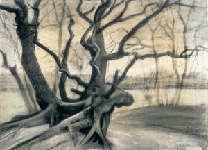 Roots or Study of a Tree. 1882. Pencil, chalk, ink, watercolor. Kröller-Müller Museum.