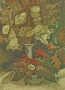 13. Vase with Honesty. 884-85. Oil on canvas. Van Gogh Museum, Amsterdam.