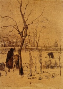 9. Winter Gardens. 1883. Ink on paper. Van Gogh Museum, Amsterdam.