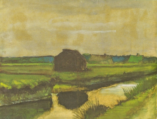 15. Landscape with a Stack of Peat and Farmhouses. 1883. Watercolor on paper. Van Gogh Museum, Amsterdam.
