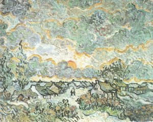 Cottages at Sunset (Reminiscene of Brabant). 1890. Oil on canvas on panel. Van Gogh Museum, Amsterdam.
