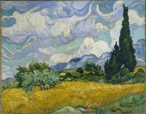 29. A Wheatfield with Cypresses. 1899. Oil on canvas. The National Gallery, London.