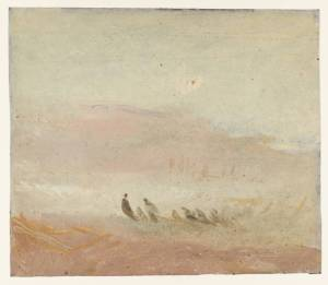 25. Figures on a Beach by J.M.W. Turner. Oil on millboard. ca. 1840-45. Tate, London. Joseph Mallord William Turner 1775-1851 Turner Bequest M 1974 .
